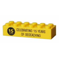 15 Years of Geocaching Trackable LEGO® Brick- Yellow