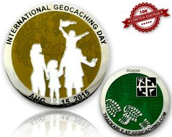 Int. Geocaching Day Geocoin 2015 Yellow LE 100