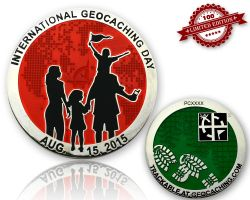 Int. Geocaching Day Geocoin 2015 Red LE 100