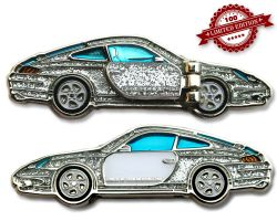 Turbo 911 Geocoin - Crystal Silver LE 100