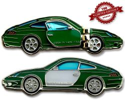 Turbo 911 Geocoin - Conda Green LE 100