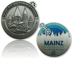 Mainz Geocoin Antique Silver - BLUE