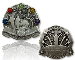 Geocaching Road Trip 2015 Geocoin Antik Silber