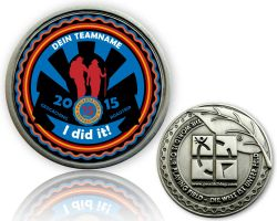 Road Trip 2015 Geocoin with your Team name Antique Silver