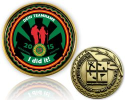 Road Trip 2015 Geocoin with your Team name Antique Gold
