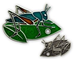 Travel Grasshopper Geocoin Antique Silver