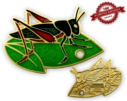 Travel Grasshopper Geocoin Satin Gold LE 100