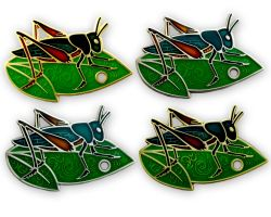 Travel Grasshopper Geocoin Collector SET (4 COINS)