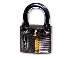 Lockpicking metal training lock - with viewing window