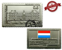 Geocacher's World Geocoin -LUXEMBOURG- Satin Silber XLE 75