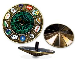 Cache Roulette Spinner Geocoin Antique Gold GREEN