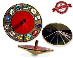 Cache Roulette Spinner Geocoin Polished Gold RED XLE 75
