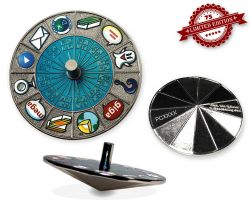 Cache Roulette Spinner Geocoin Polished Silver BLUE XLE 75