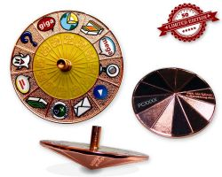 Cache Roulette Spinner Geocoin Polished Copper YELLOW XLE 50