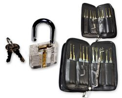 Lockpicking Professional Werkzeug Set inkl. transparentem Übungs