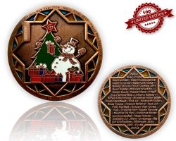 Christmas 2015 Geocoin Antique Copper LE 100