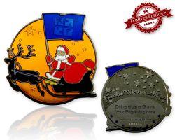 Frohe Weihnachten Weihnachtsmann Geocoin Orange XLE 75