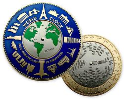 World Clock XXXL Geocoin Oceanblue (working World Clock)