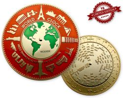 World Clock XXXL Geocoin Red Gold XLE 75 (working World Clock)
