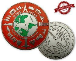 World Clock XXXL Geocoin Red Silver XLE 75 (working World Clock)