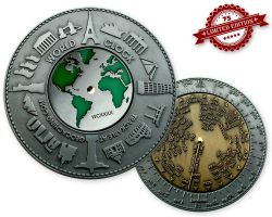 World Clock XXXL Geocoin Silver / Gold XLE 75 (working World Clo
