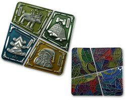 Weihnachten Chagall Geocoin SET Antik Silber (4 Geocoins)