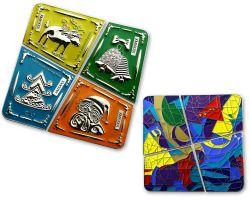 Weihnachten Chagall Geocoin SET Poliertes Silber (4 Geocoins)
