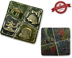 Weihnachten Chagall Geocoin SET Antik Gold XLE 50 (4 Geocoins)