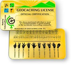 Geocaching License Plakette trackbar optional mit Gravur