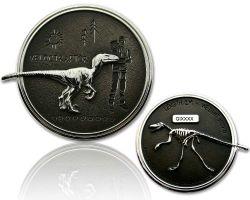 Velociraptor Dino Geocoin Silber / Black
