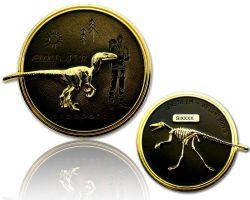 Velociraptor Dino Geocoin Gold / Black