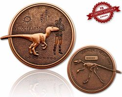 Velociraptor Geocoin Antique Copper XLE 75