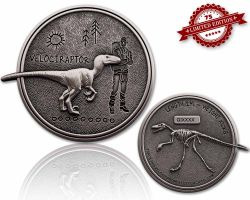 Velociraptor Dino Geocoin Antik Silber XLE 75