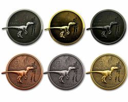 Velociraptor Geocoin Collector SET (6 COINS)
