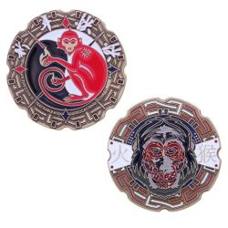 Year of the Monkey Geocoin Antik Gold