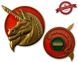 Unicorn - Geocaching Guardian Geocoin Antik Gold XLE 75