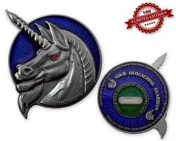 Unicorn - Geocaching Guardian Geocoin Antik Silber XLE 75