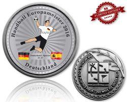 Handball Europameister 2016 Geocoin Antik Silber XLE 50