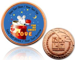 Valentine Love Geocoin Polished Copper with your Text