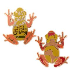 366 Leap Frog Geocoin Limitierte Edition - Orange/Rot