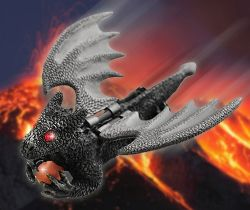 Flying Guardian Drachen Geocoin XXL - Antik Silber
