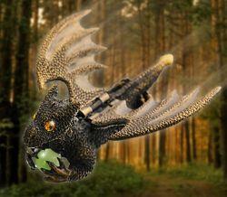 Flying Guardian Drachen Geocoin XXL - Antik Gold