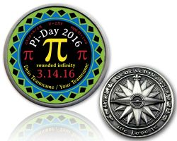 Pi-Day 2016 Geocoin Antique Silver with your Teamname