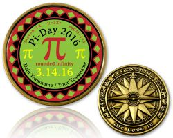 Pi-Day 2016 Geocoin Antik Gold mit Teamname