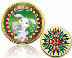 Easter 2017 Geocoin Polished Gold with your Text