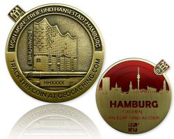 Hamburg Geocoin Antik Gold - ROT