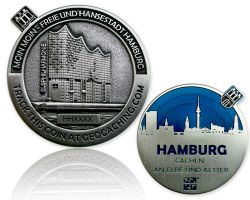 Hamburg Geocoin Antique Silver - Blue