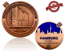 Hamburg Geocoin Antique Copper - BLUE XLE 50