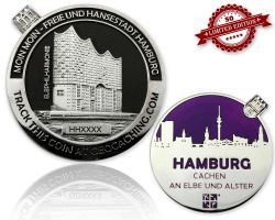 Hamburg Geocoin Black Nickel / Silber - VIOLETT XLE 50