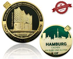 Hamburg Geocoin Black Nickel / Gold - GRUEN XLE 50